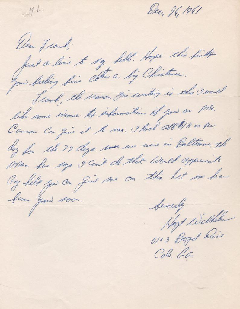 Handwritten letter to early agent Frank Scott