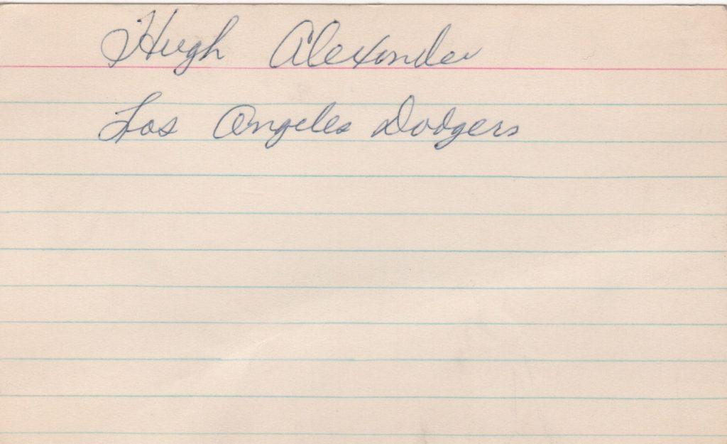 Hugh Alexander signed 3x5 index card