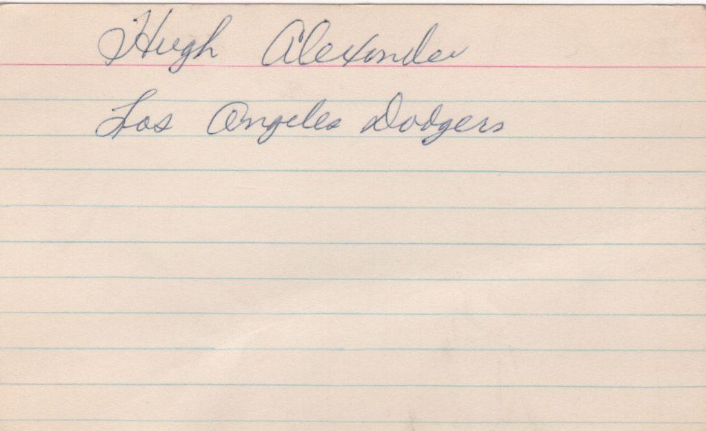 Hugh Alexander signed 3x5 index card