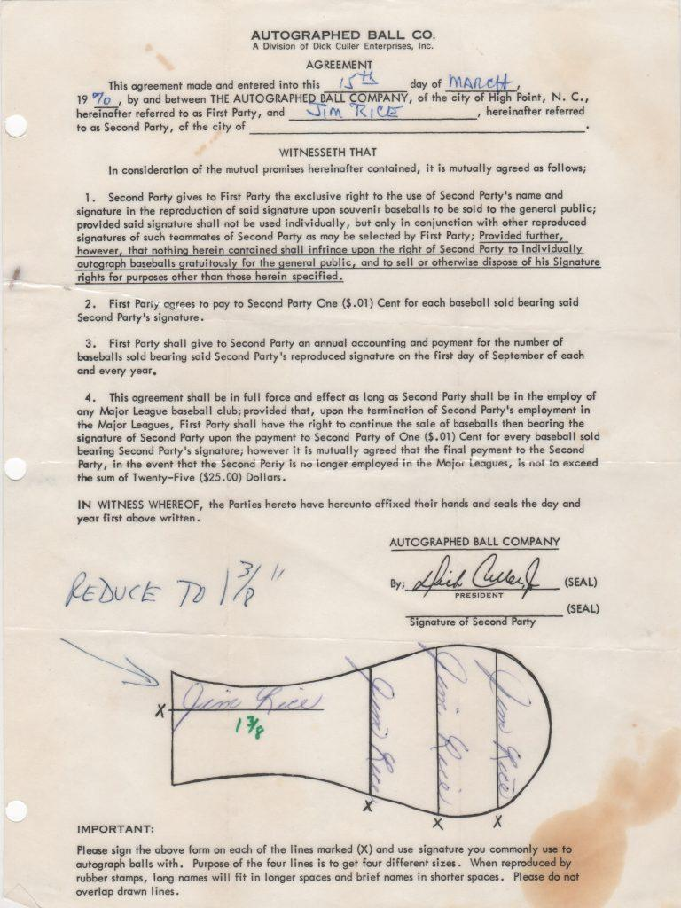 Autoball contract signed four times by Jim Rice