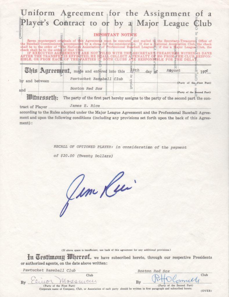 Original document that promotes Jim Rice to the Major Leagues