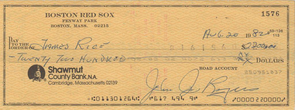 Red Sox check made out to Jim Rice