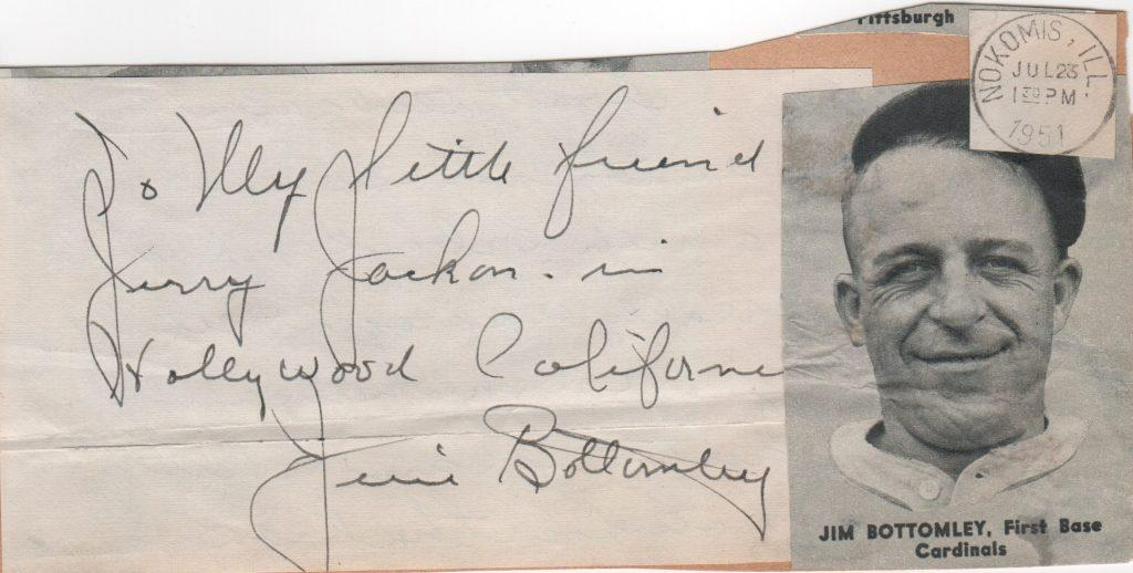 Signature from government postcard dated July 23, 1951