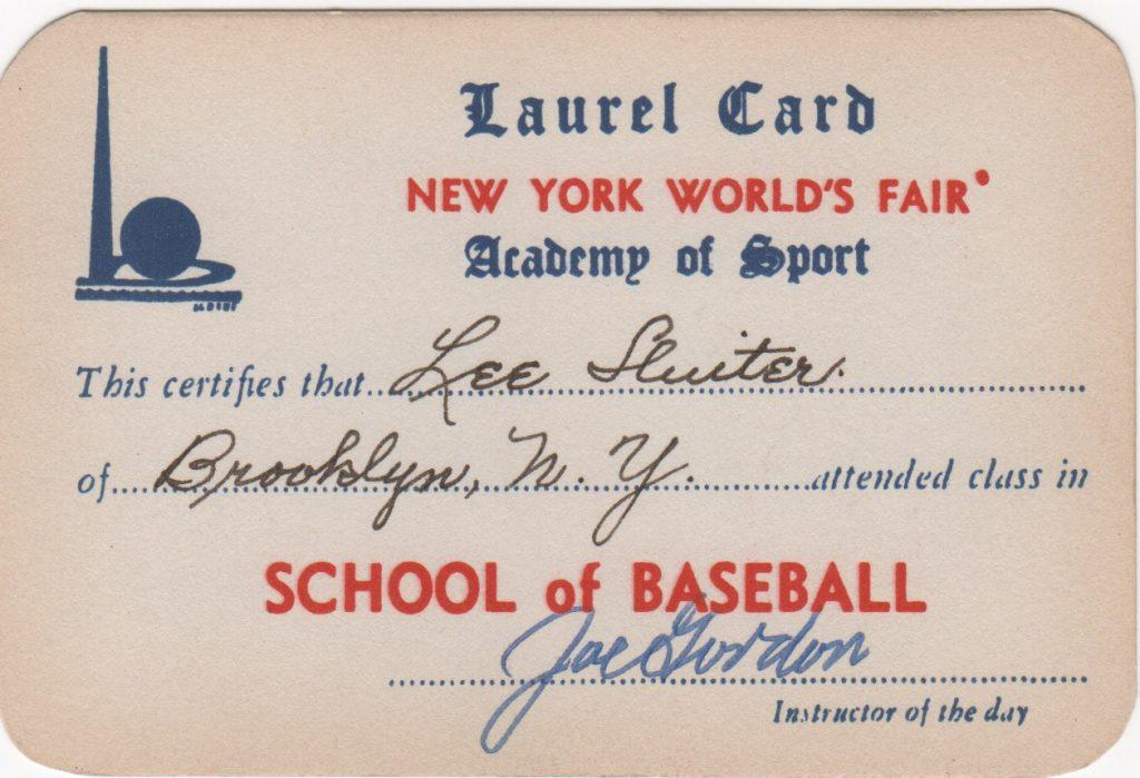 1939 World's Fair Laurel Card signed by Joe Gordon