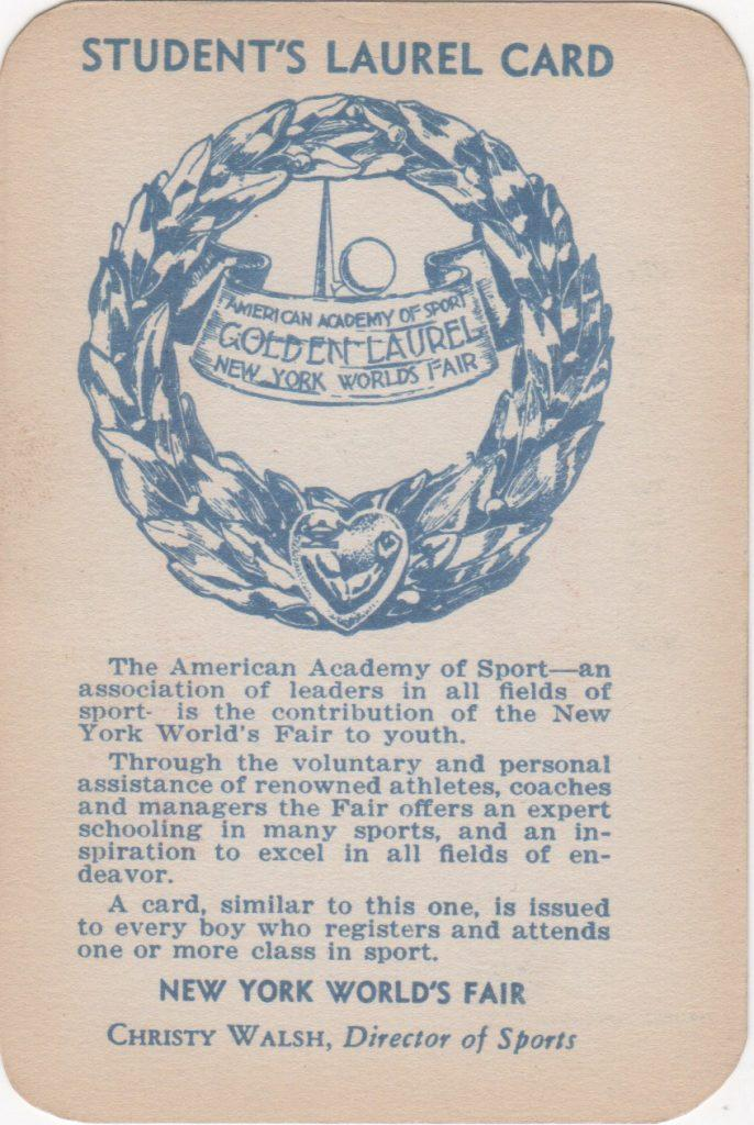 Reverse of World's Fair Laurel Card
