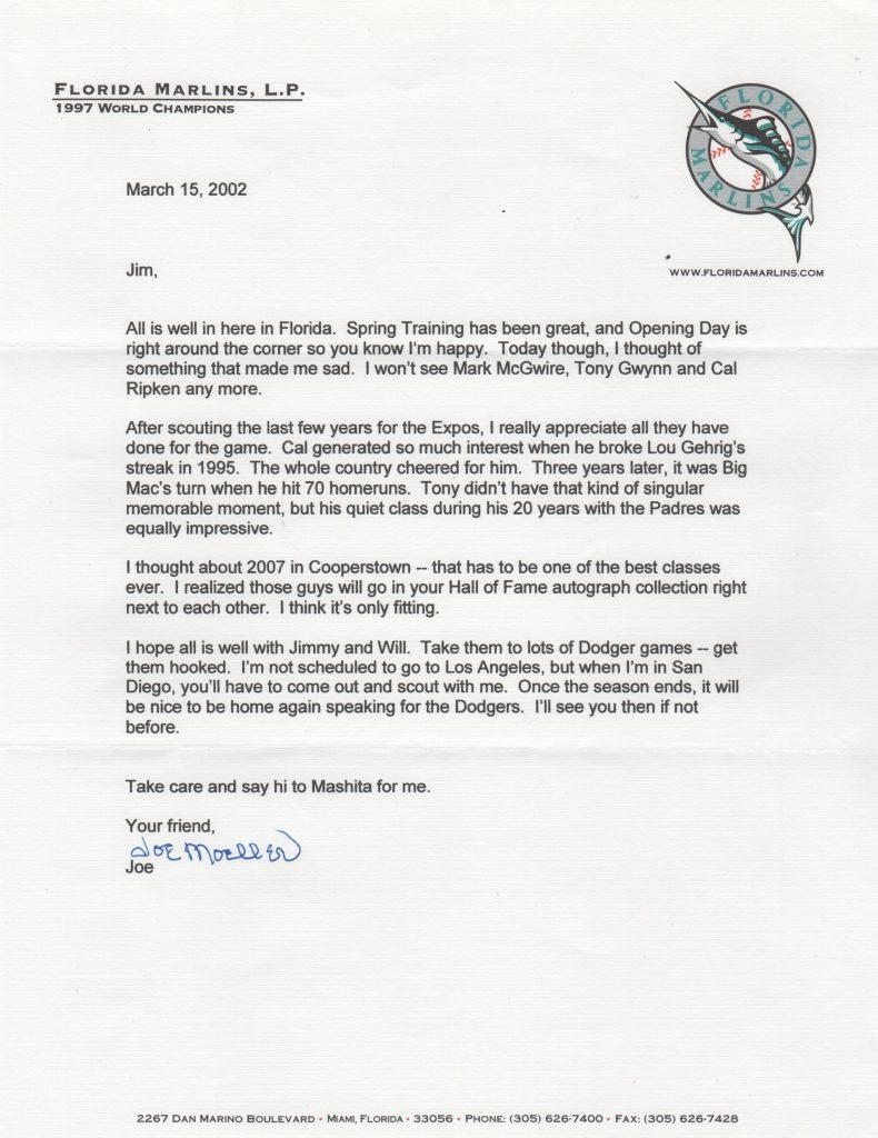 Outstanding letter about Ripken, Gwynn, and McGwire