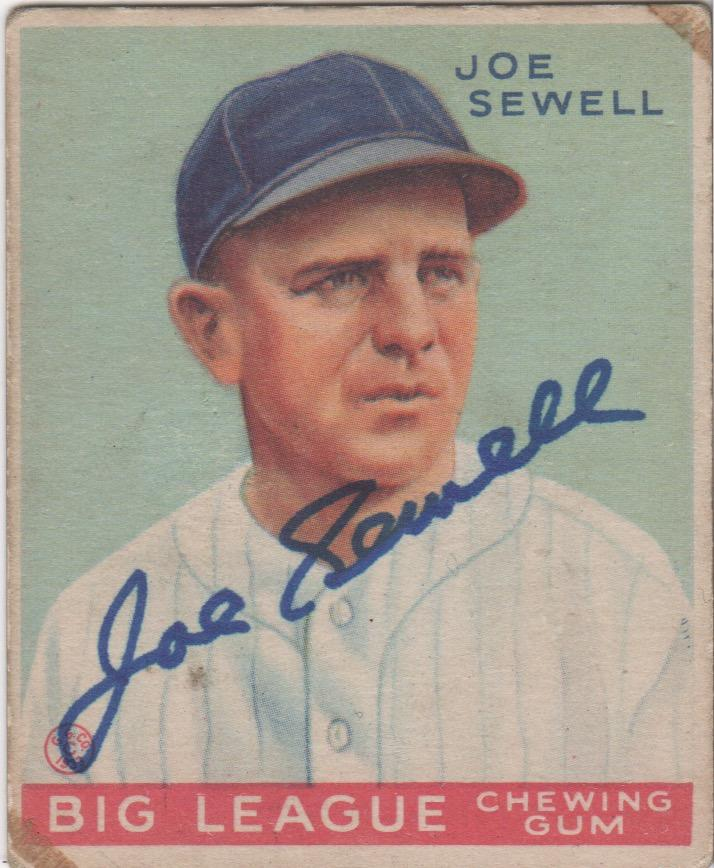 Joe Sewell autographed 1933 Goudey - his last MLB season