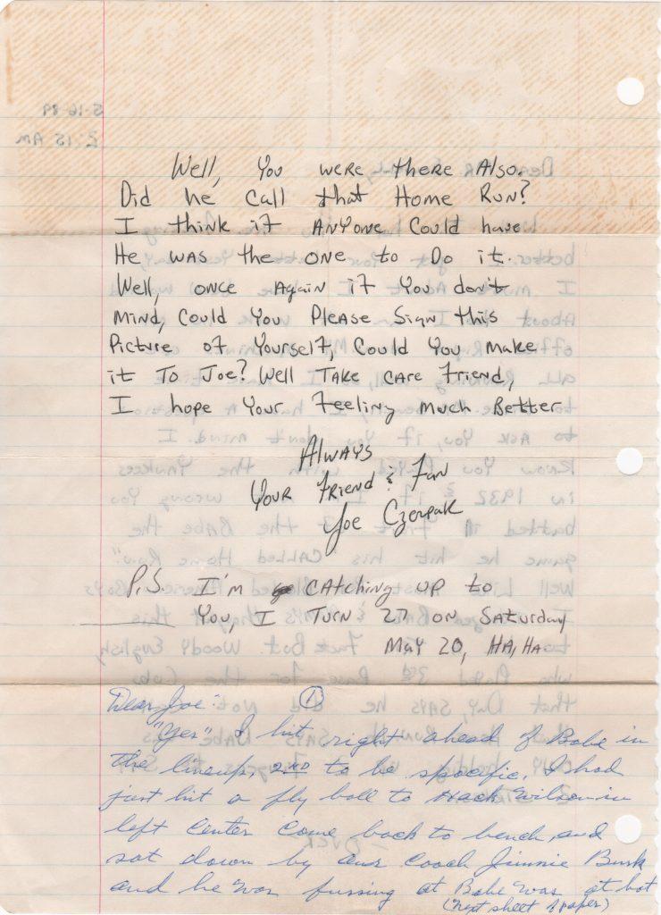 Sewell handwritten letter re: Ruth's called shot