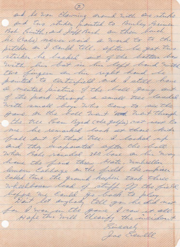 Page 2 of letter about Ruth's called shot