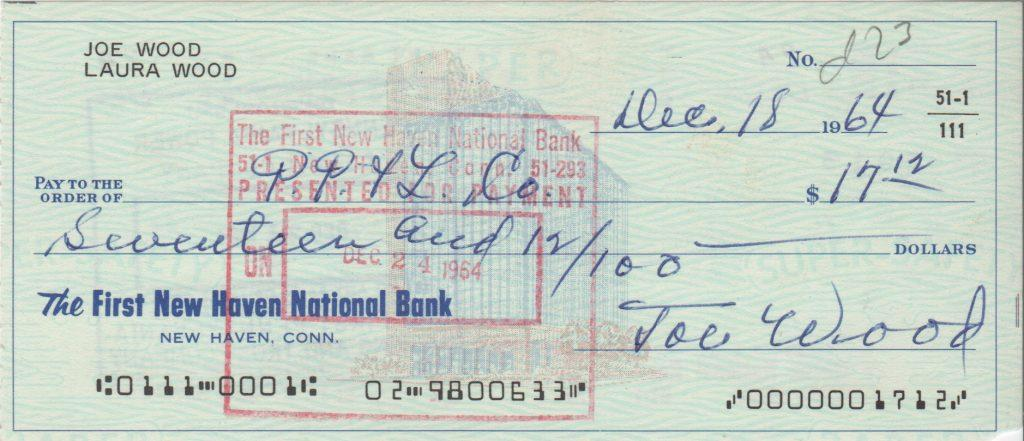 Joe Wood personal check from December, 1964