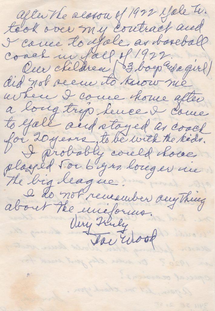 Handwritten letter from Smoky Joe Wood