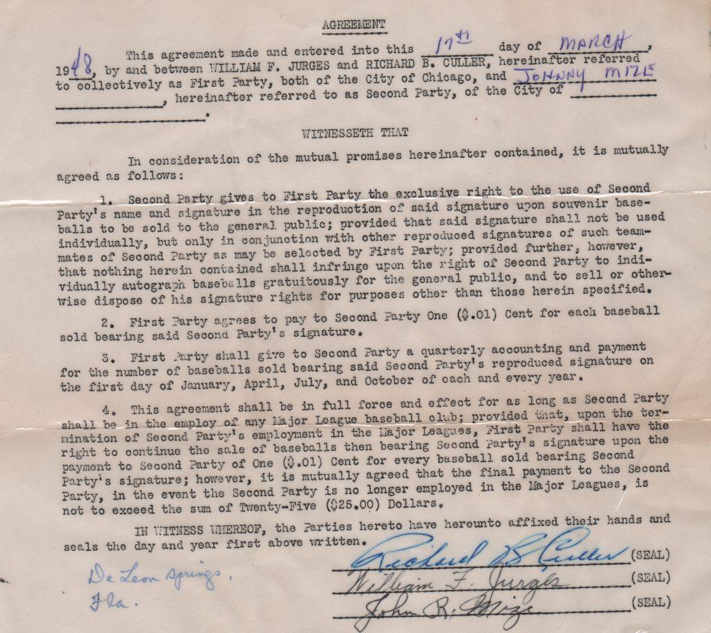 Johnny Mize's 1948 autoball contract
