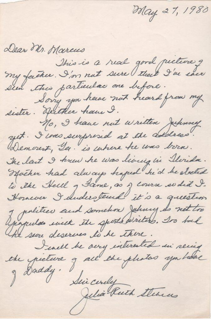 Letter from Babe Ruth's daughter concerning her Uncle Johnny Mize