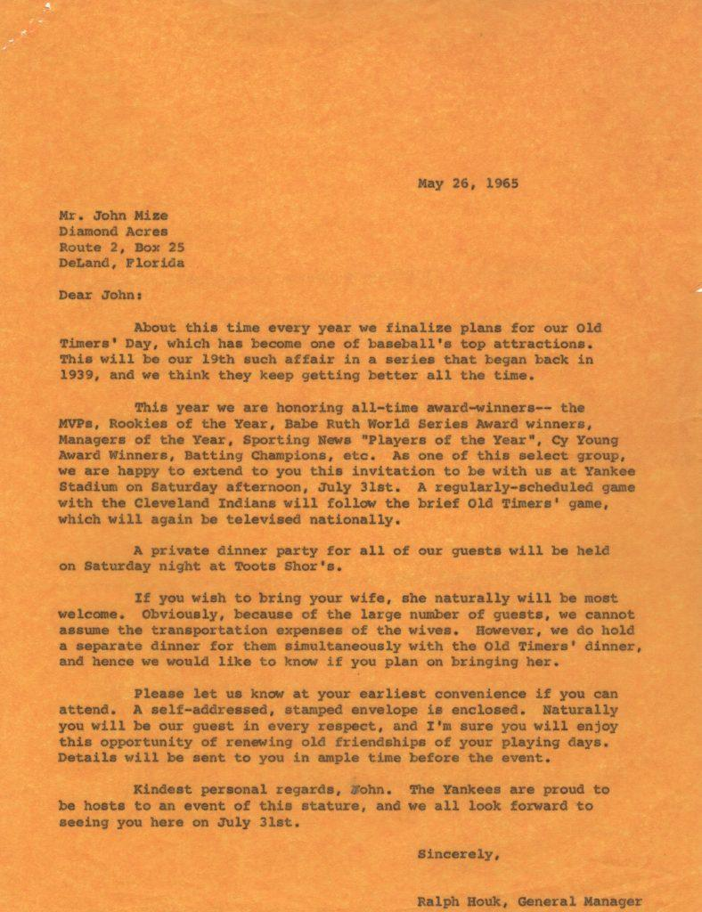Ralph Houk file copy letter re: 1965 Old Timer's Game