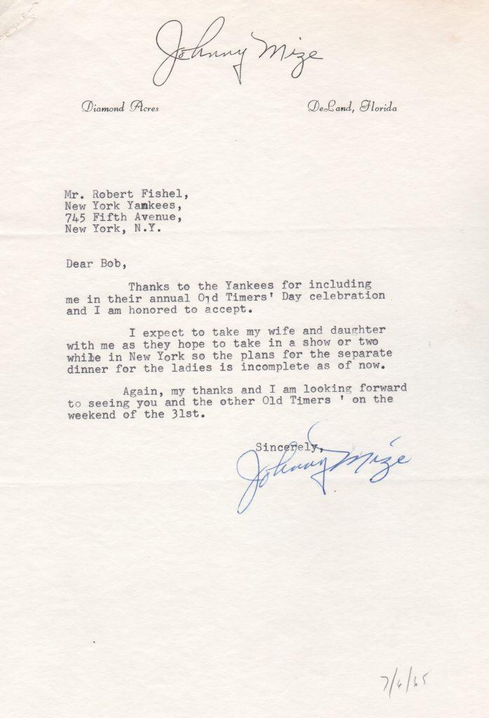 Johnny Mize accepts invitation to Yankee Old Timer's Game