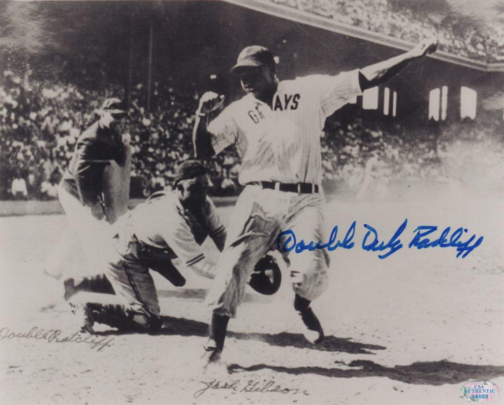 Photo of Josh Gibson trying to tag out Ted Radcliffe at the plate