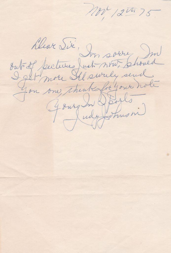 Judy Johnson handwritten letter to a fan dated November 12, 1975