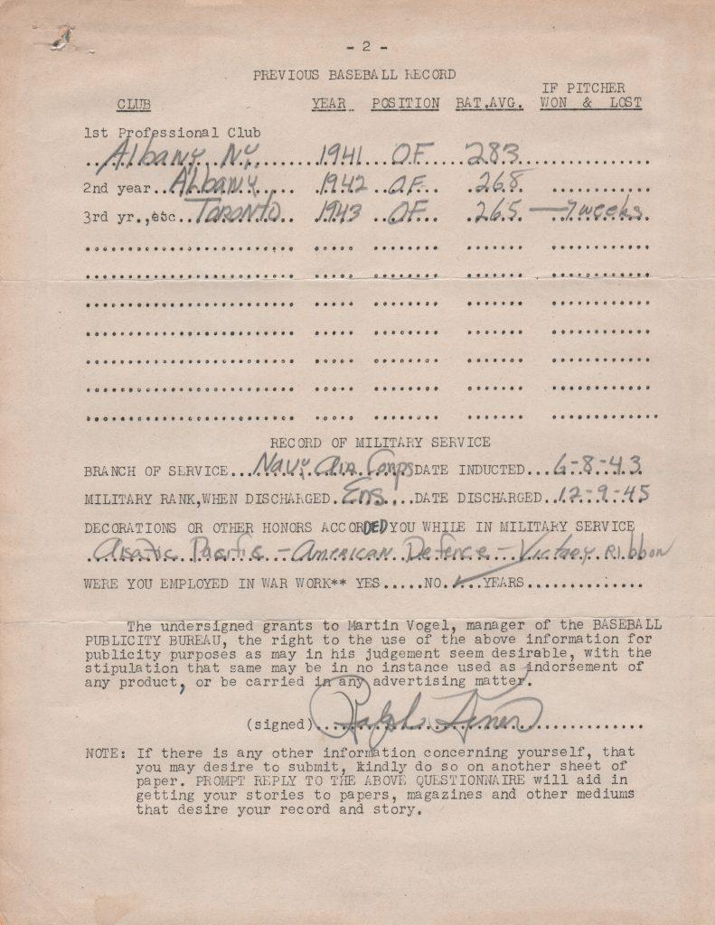 Page two of Kiner's MLB Publicity Bureau questionnaire