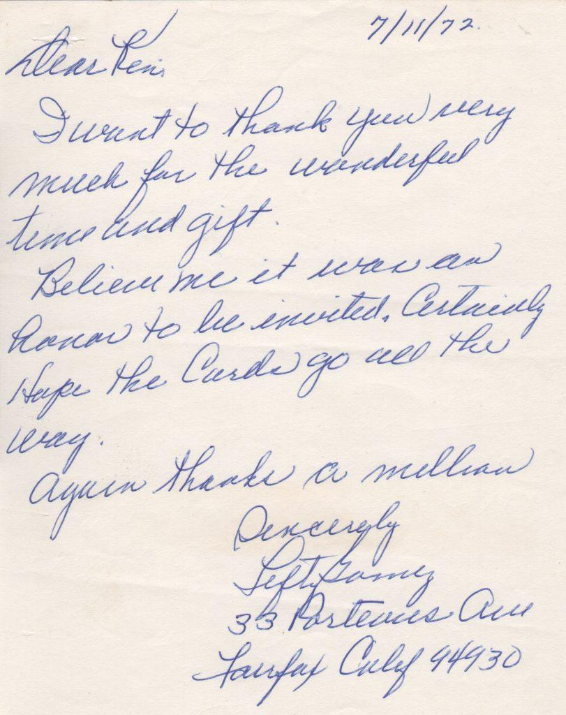 Handwritten letter thanking a fan for a gift in 1972