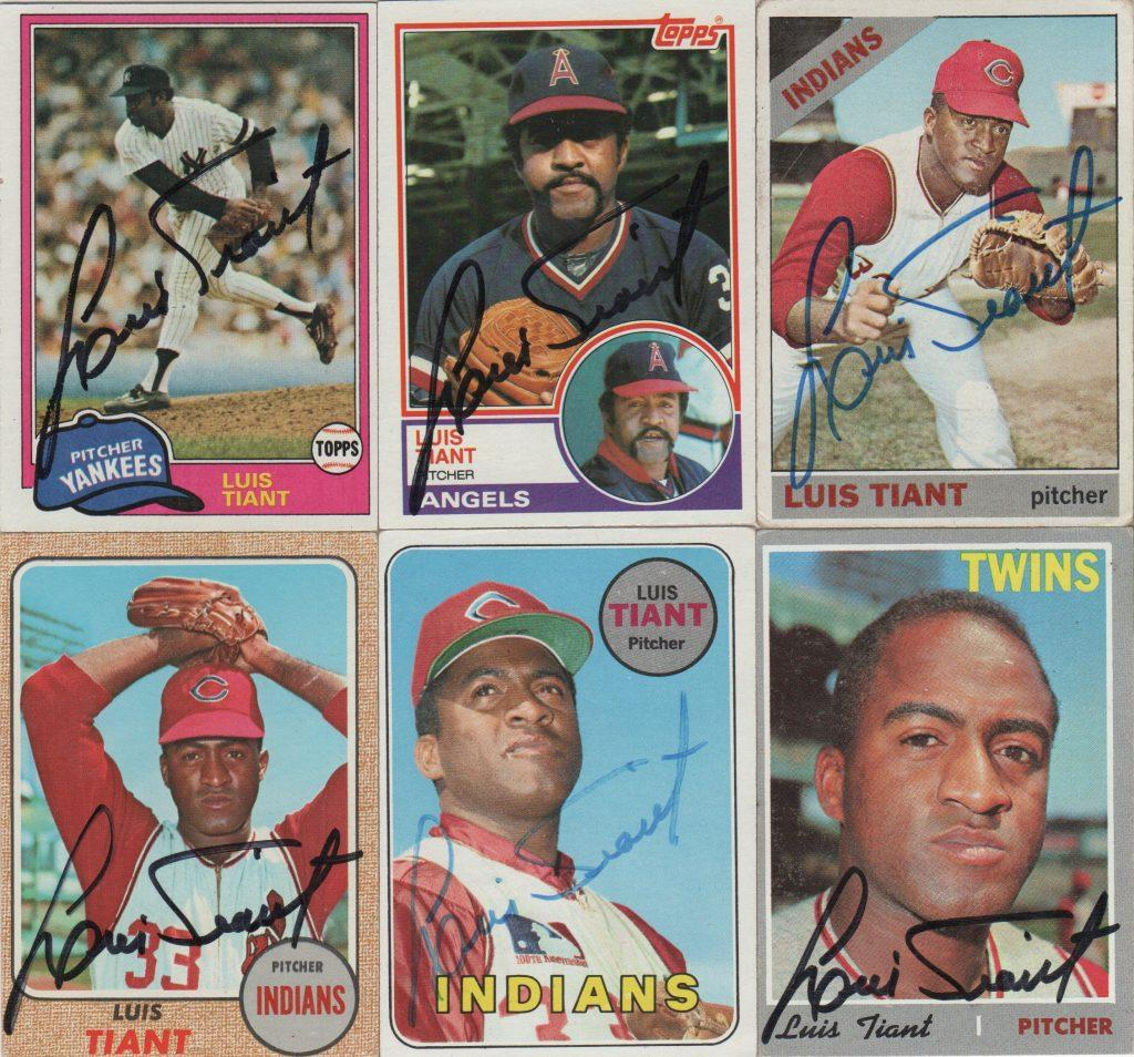 Six autographed cards by Tiant