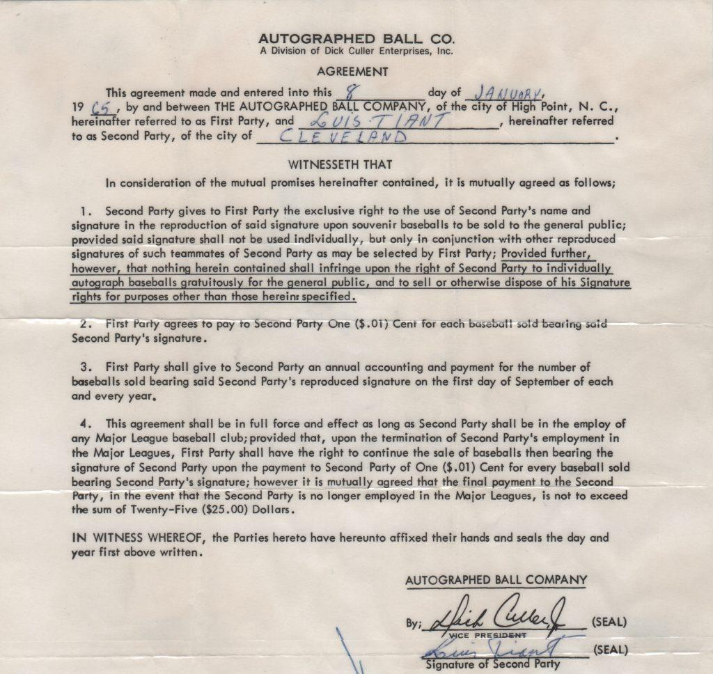 Luis Tiant signed Autoball contract