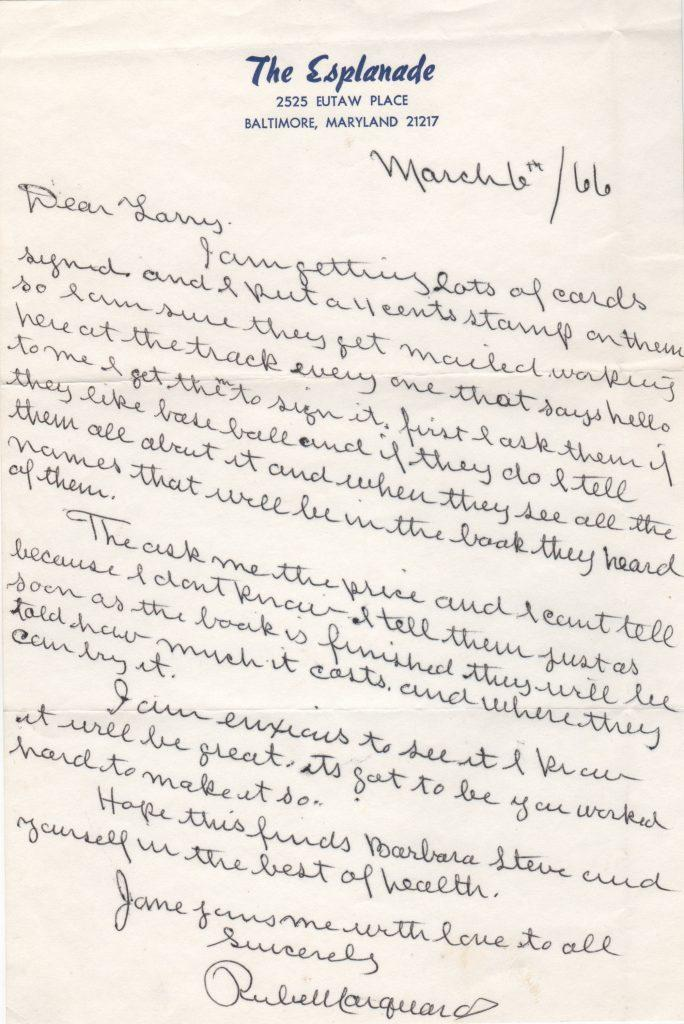 Handwritten letter to author Larry Ritter