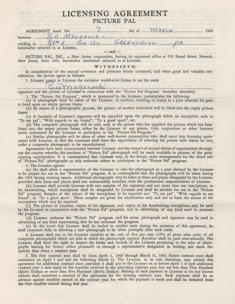 1963 Picture Pal contract with Bill Mazeroski