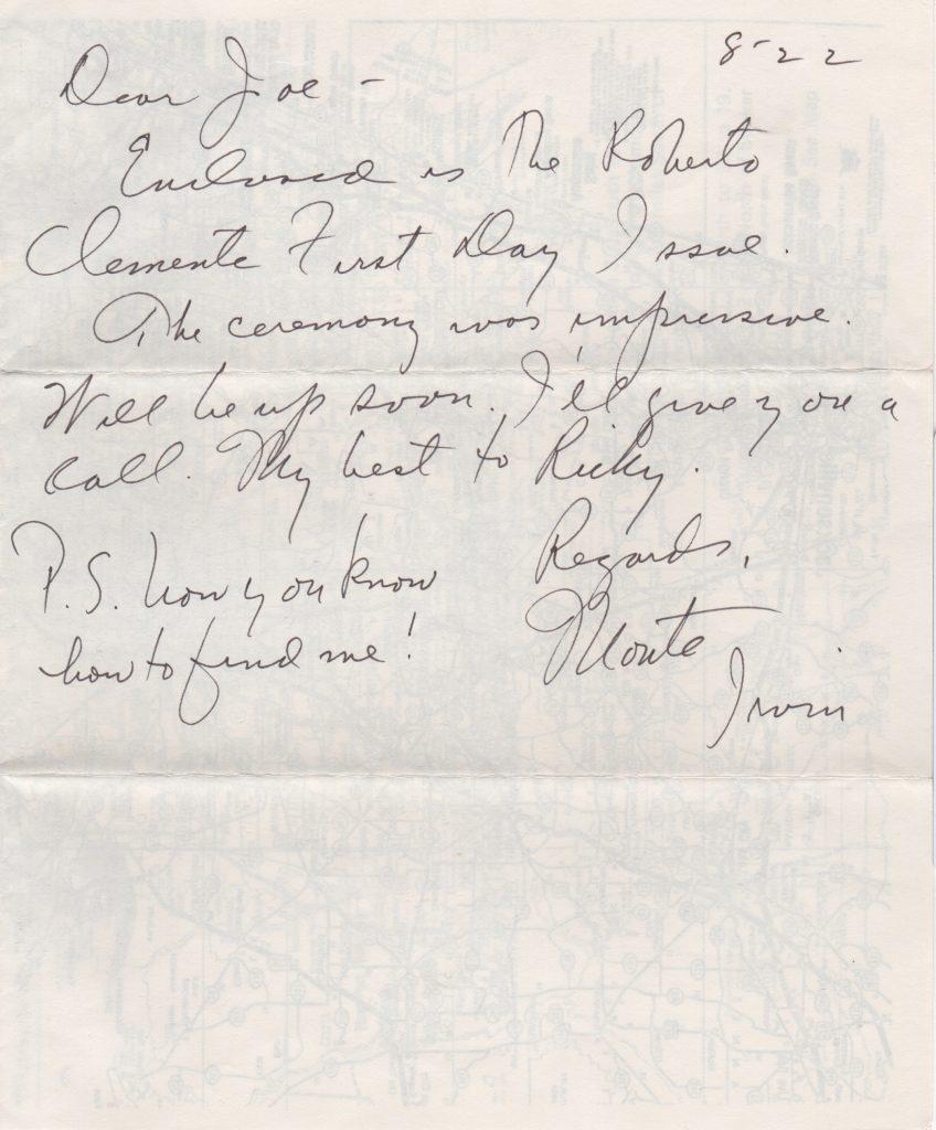 Handwritten letter to HoF sportwriter Joe Reichler