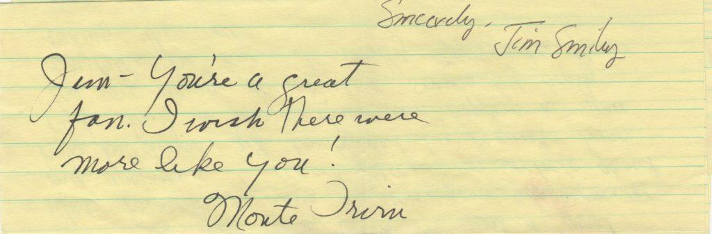 Handwritten note sending warm wishes to a fan