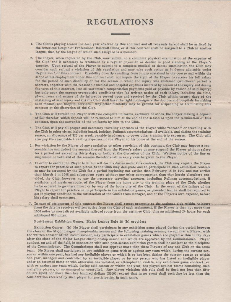 Final page of Newhouser's 1951 pact