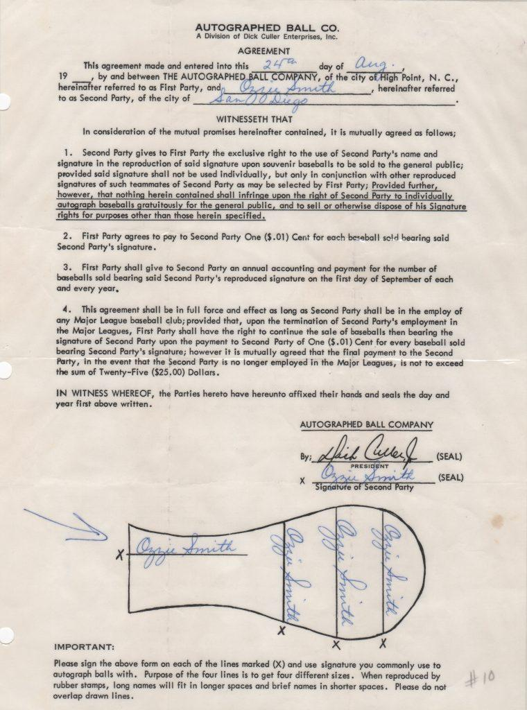 The Wizard of Oz's undated Autoball contract