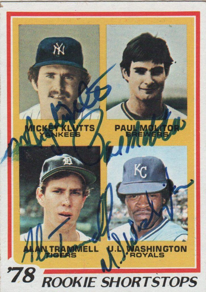 Close up of signed rookie card with Alan Trammell