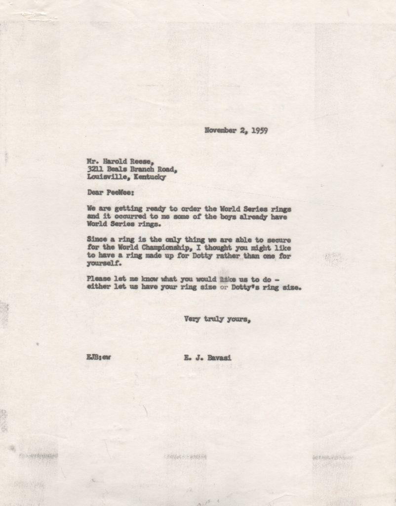 File copy letter from Buzzie Bavasi to Pee Wee