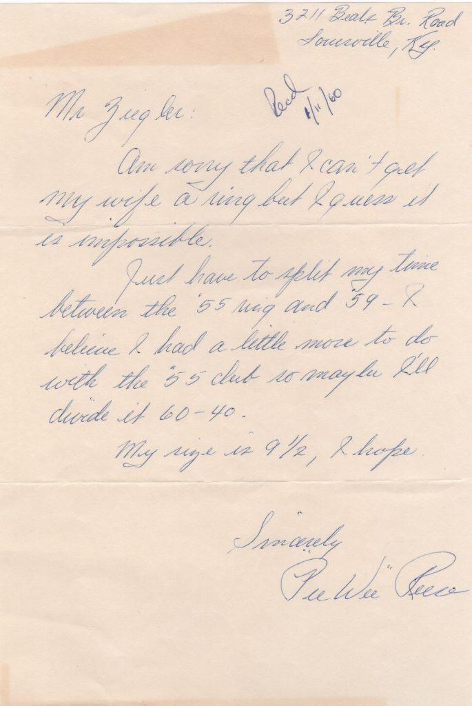 Pee Wee Reese handwritten letter re: 1959 World Series rings