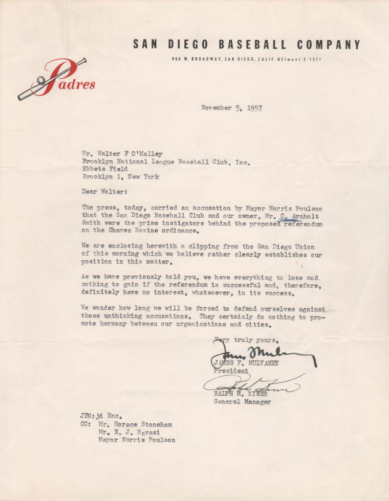 Historic letter from Ralph Kiner to O'Malley wishing to stop the Dodgers' move west