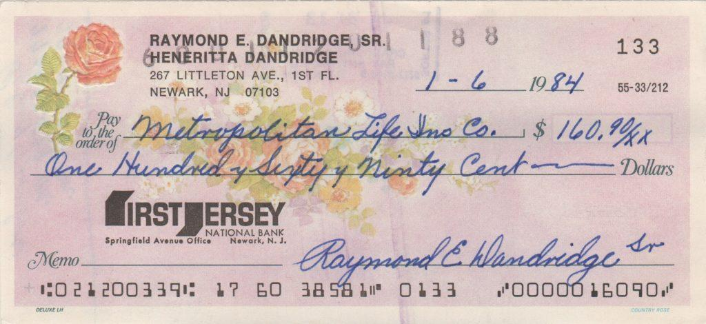 Ray Dandridge signed personal check