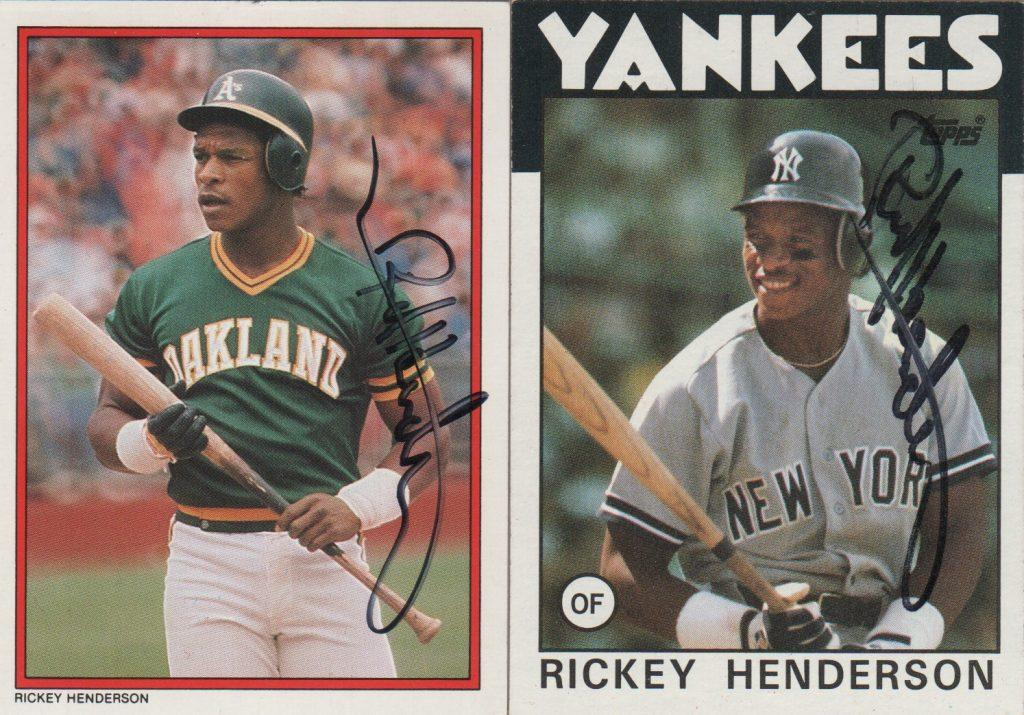 Rickey Henderson cards with the Yanks and A's