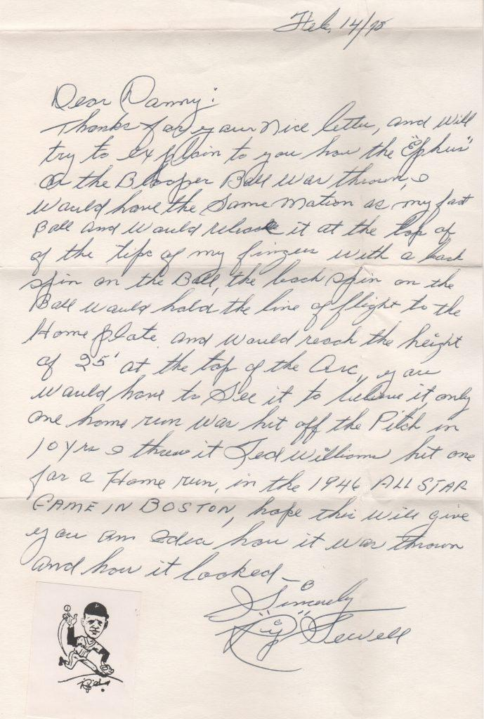 Handwritten letter from Joe Sewell's cousin Rip Sewell re: Eephus pitch