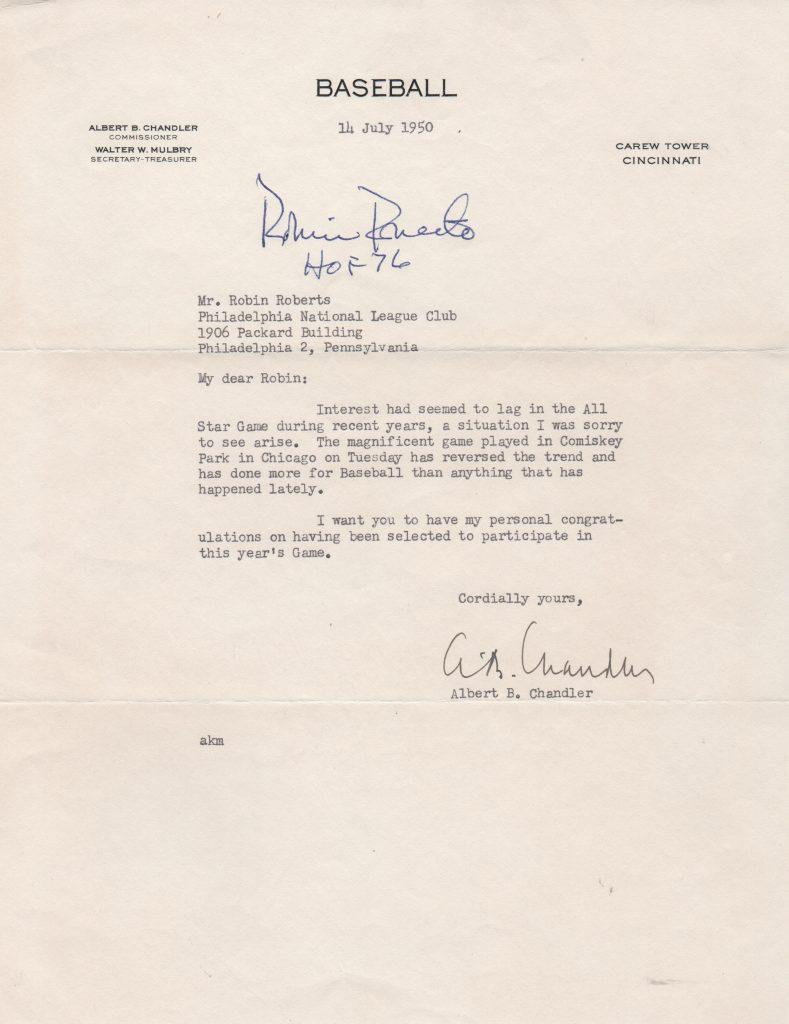 One Hall of Famer to another: Chandler writes to Robin Roberts to congratulate him on the 1950 All Star game