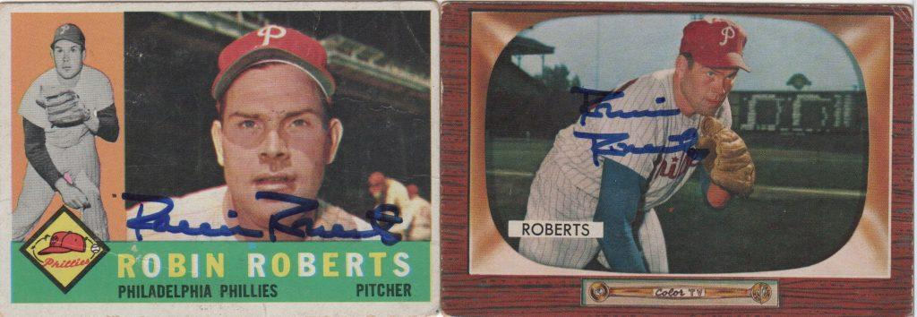 Pair of Robin Roberts autographed cards