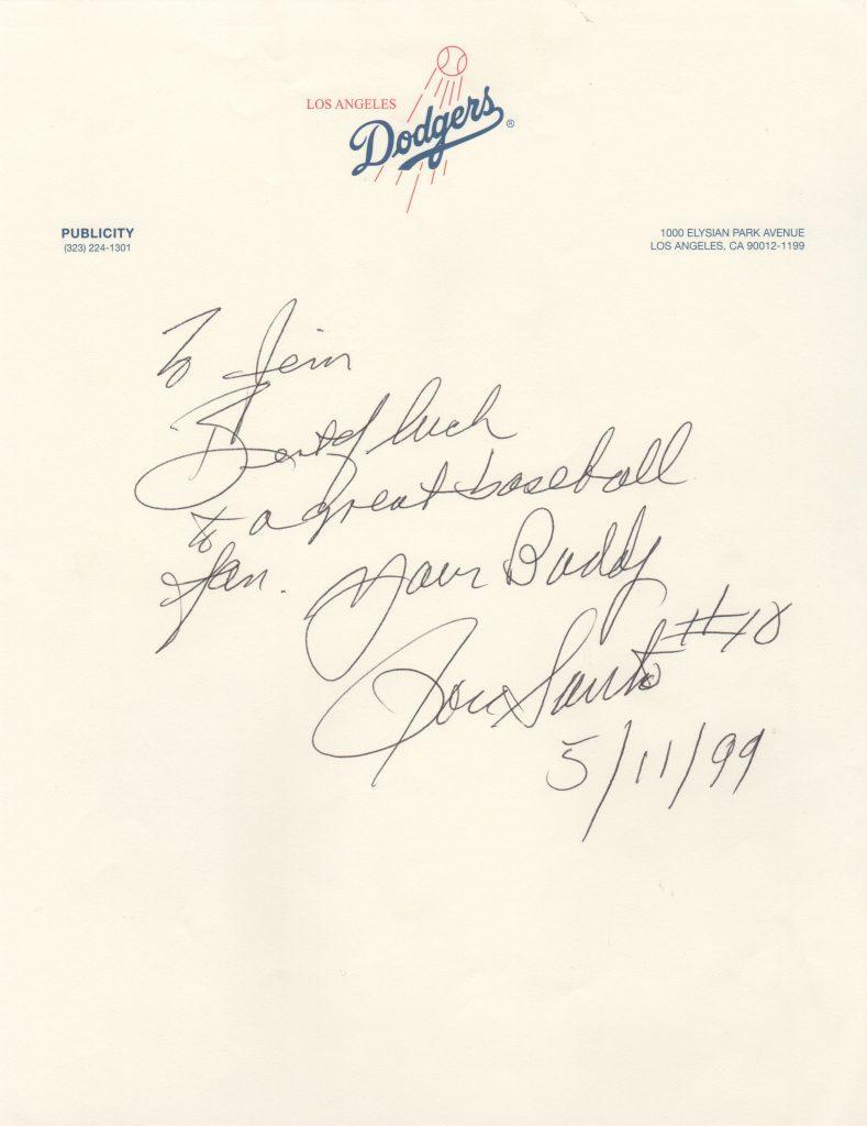 Handwritten letter from Santo to a fan