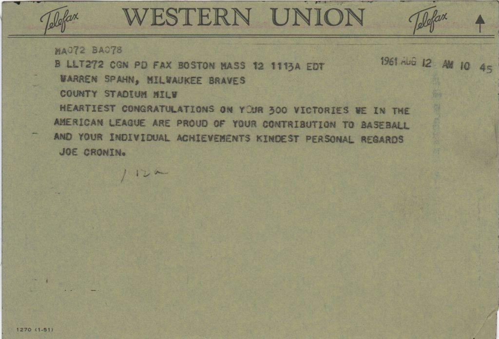 Joe Cronin telegram congratulating Warren Spahn on 300th win