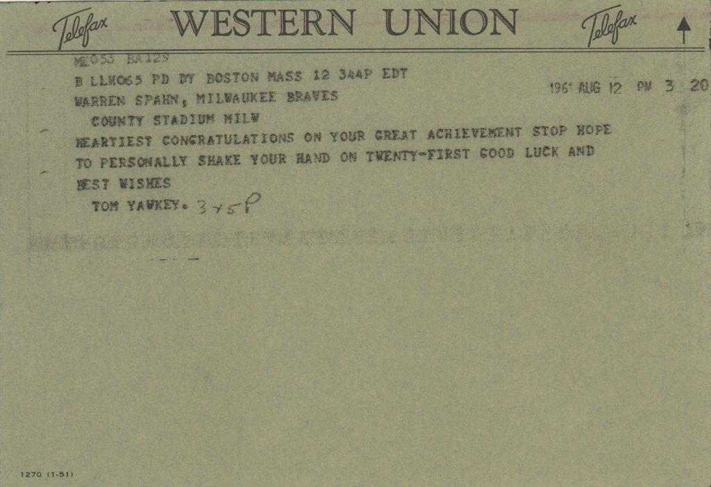 Yawkey congratulatory telegram to Spahn for 300th win