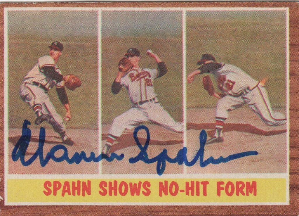 Autographed Warren Spahn 1962 Topps card