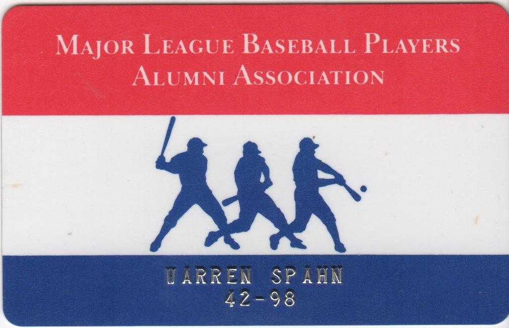 Spahn's MLB players alumni association identification card