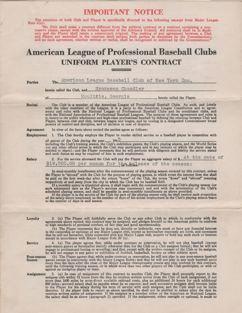 Larry MacPhail signed 1945 contract for former MVP Spud Chandler