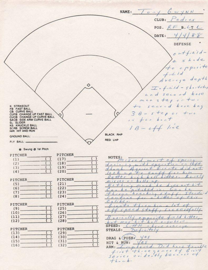 1988 advance scouting report on Tony Gwynn