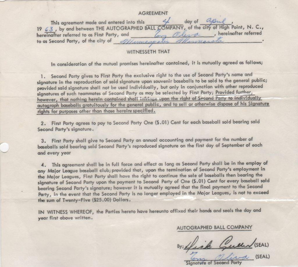 Tony Oliva signed Autoball contract
