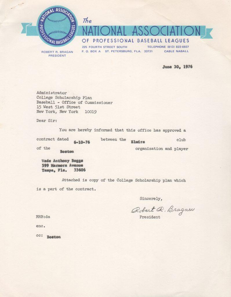 Letter about Boggs' college scholarship dated before his 18th birthday