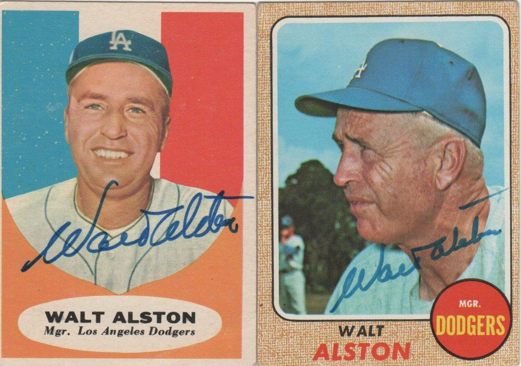 A pair of autographed Topps baseball cards